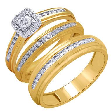 tw 3 piece wedding trio set - 3 Piece Wedding Rings