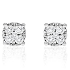 540699503 T.W. Round Stud Earrings in 14k White Gold (HI-I1)
