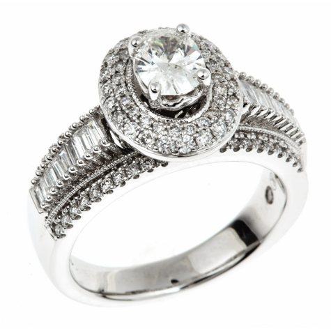 1.45 CT. T.W. Oval-cut Regal Diamond Ring in 14K White Gold (I, SI2)