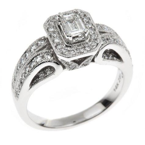0.95 ct. t.w. Emerald Regal Diamond Ring in 14K White Gold (I, SI2)