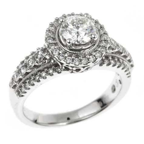 1.45 CT. T.W. Regal Hearts and Arrows Round-cut Diamond Ring in 14K White Gold (I, SI2)