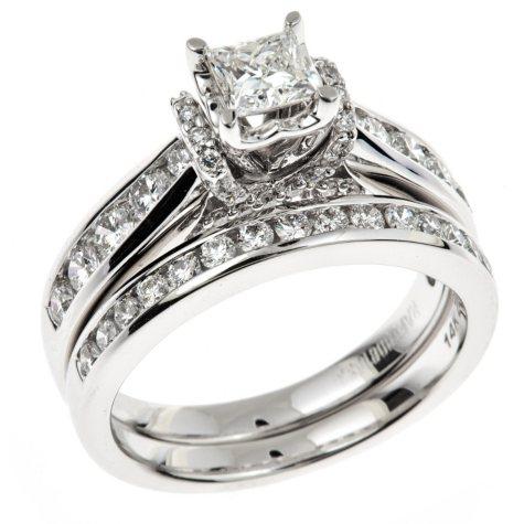 1.45 CT. T.W. Ideal Princess-cut Regal Diamond Ring in 14K White Gold (I, SI2)