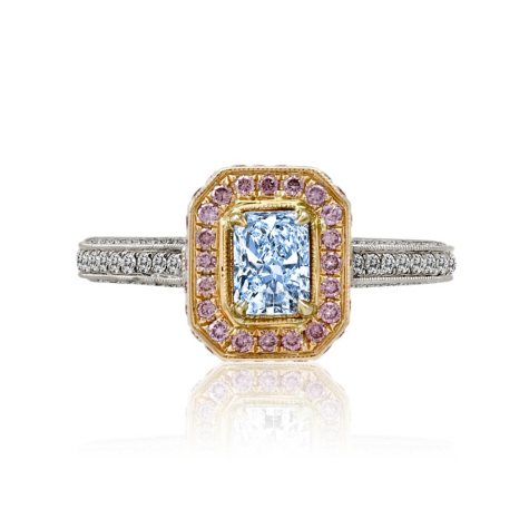 1.54 CT. T.W. Natural Fancy Light Blue, Pink and White Diamond Ring in Platinum and 18K Rose Gold (H-I, VVS2)
