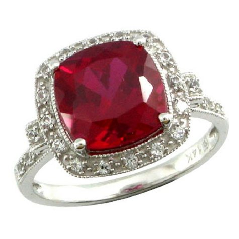 Lab-Created Ruby & White Sapphire Ring in 14K White Gold