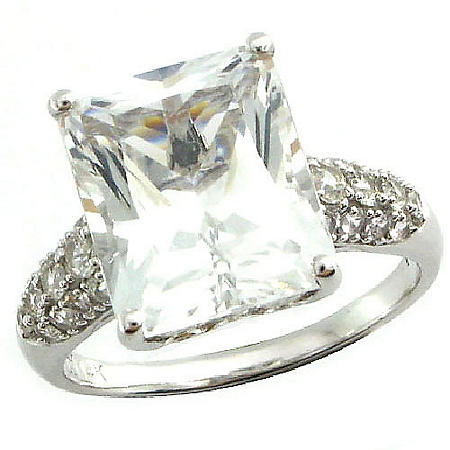 White Topaz & Lab-Created White Sapphire Ring in 14K