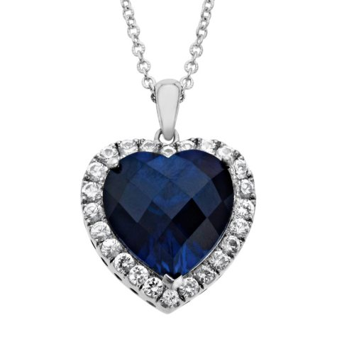 Created Blue and White Sapphire Heart Pendant in Sterling Silver