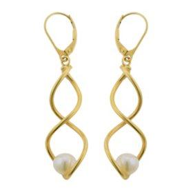 Italian Dangle Twist Pearl Earrings