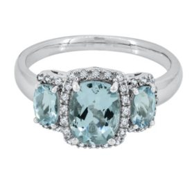 Three Stone Aquamarine Ring with Diamond in 14k White Gold