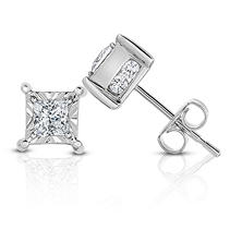 0.95 ct. t.w. Princess Cut Diamond Stud Earrings in 14k White Gold