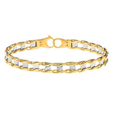 8.5 quot; Two-Tone Men #39;s Bracelet in 14K Gold