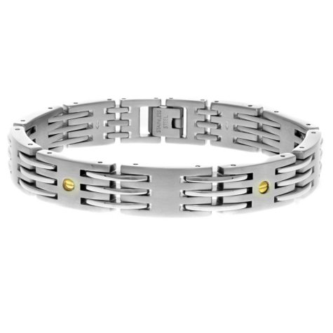 """Men's 8.5"""" Bracelet In Stainless Steel With 18K Yellow Gold Accent"""