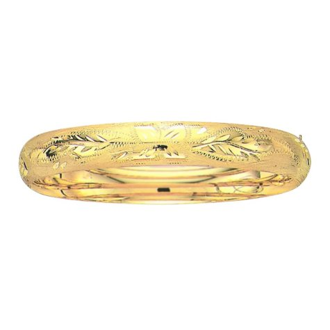 10mm Floral Bangle In 14K Yellow Gold
