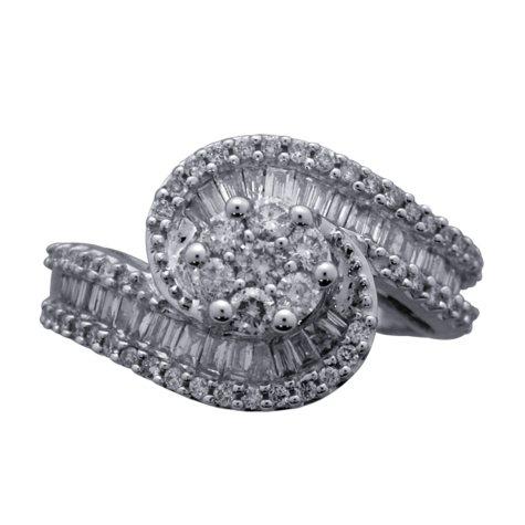 0.98 CT. T.W. Diamond Swirl Ring in 14K White Gold (I, I1)