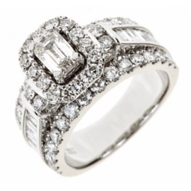 5c331b51ecf6 T.W. Emerald-Cut Diamond Engagement Ring in 14K White Gold (I