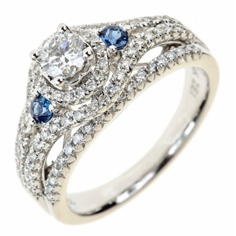 0.95 CT. T.W. Round Diamond and Sapphire Ring in 14K White Gold (I, I1)