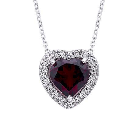 Heart-Shaped Garnet and Diamond Pendant in 14K White Gold (I, I1)