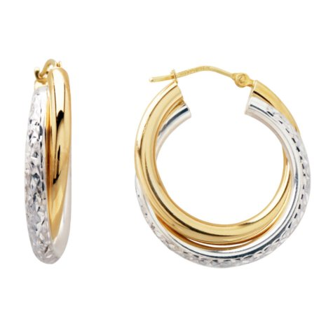 Love, Earth 3 x 25mm Crystal Cut Hoop Earrings in Sterling Silver and 14K Yellow Gold