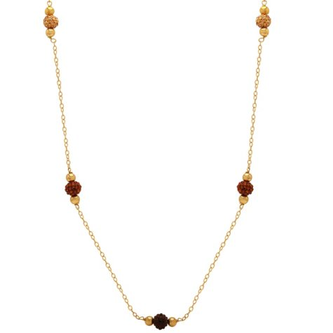 """Love, Earth Champagne-hued, Faceted Crystal-stations on a 36"""" Sterling Silver and 14K Yellow Gold Chain"""