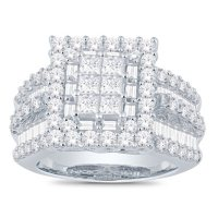 3.0 CT. T.W. Princess, Round and Baguette Diamond Ring in 14K Gold (I, I1)