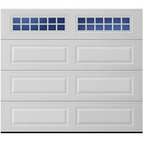 Amarr Lincoln Traditional Garage Door - Long Panel Design- White 8 x 7 Stockton Window