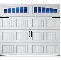 Oak Summit 2000 Short Bead Board Panel Garage Door - White 9 x 8 Moonlite Window