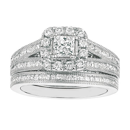 e7a9a80aa68286 1.75 CT.T.W. Princess-Cut Diamond Engagement Set 14K White Gold (I ...