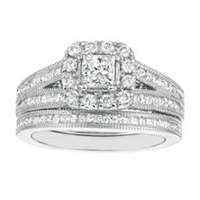 1.75 CT.T.W. Princess-Cut Diamond Engagement Set 14K White Gold (I, I1)