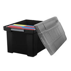 Storex Storage File Tote with Comfort Grips, Black/Grey, 2 ct.
