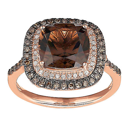 9 mm Smoky Quartz and .34 ct. t.w. Diamond Ring in 14K Rose Gold