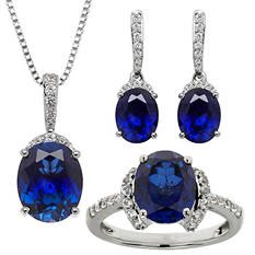 Lab-Created Blue and White Sapphire Pendant, Earring and Ring Set in Sterling Silver