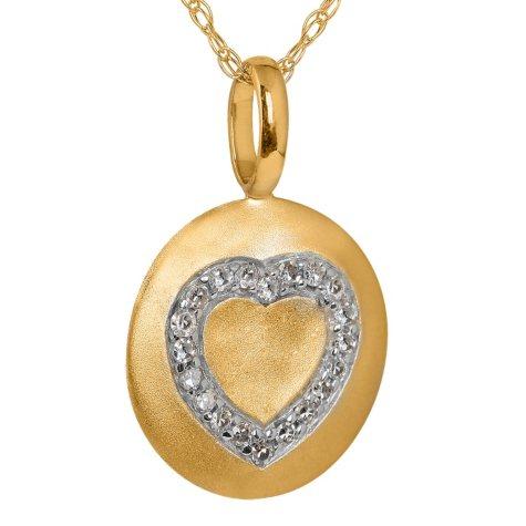 Diamond Heart Disc Pendant in 14K Yellow Gold