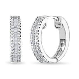 0.46 CT. T.W. Diamond Baguette Hoop Earrings