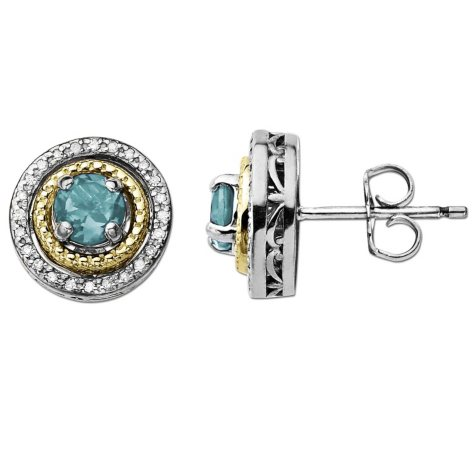 Aquamarine and Diamond Accent Birthstone Earrings in Sterling Silver and 14K Yellow Gold