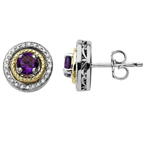 Amethyst and Diamond Earrings in Sterling Silver & 14K Yellow Gold