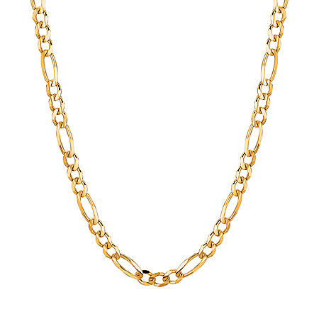 14K Yellow Gold Solid Figaro Link Necklace, 20""