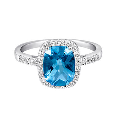 2.00 CT. Cushion Cut Blue Topaz and Diamond Ring in 14K White Gold (I, I1)