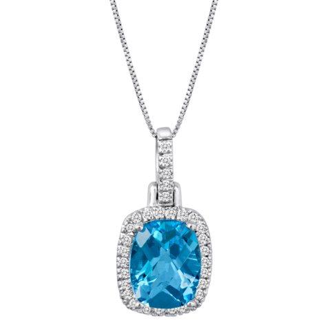Blue Topaz and Diamond Pendant in 14K White Gold (I, I1)