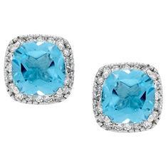 Blue Topaz and Diamond Accent Earrings in 14K White Gold (I, I1)