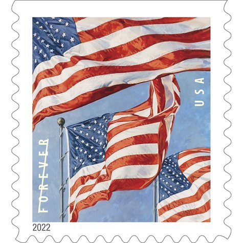 USPS FOREVER First Class Postage Stamps, U.S. Flag, Coil of 100 Stamps