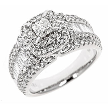1.95 CT. T.W. Princess Cut Diamond Engagement Ring in 14K White Gold (HI, I1)