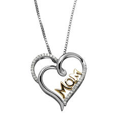 Diamond Mom Pendant in Sterling Silver and 14K Yellow Gold (.10 ct. t.w., H-1, I1)