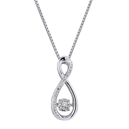 Sterling Silver Dancing Diamond Infinity Pendant