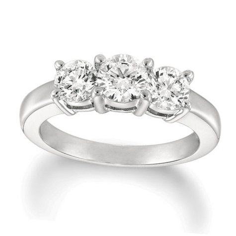1.50 ct. t.w. Round-Cut Diamond 3-Stone Ring 14K White Gold (I, I1)