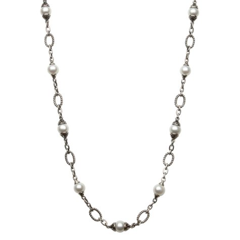"""Freshwater Pearl Link Necklace in Sterling Silver - 24"""""""