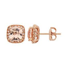 1.6 CT. T.W. Morganite Stud Earrings in 14K Rose Gold