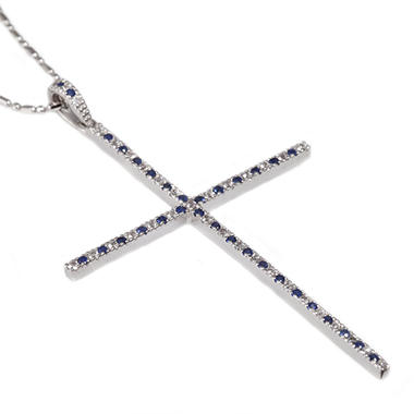 0.80 CT. T.W. Blue & White Sapphire Cross Pendant in Sterling Silver