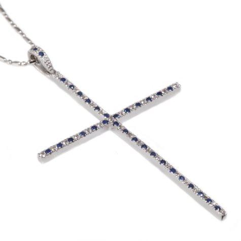 0.80 CT. T.W. Blue & White Sapphire Cross Pendant in Sterling Silver