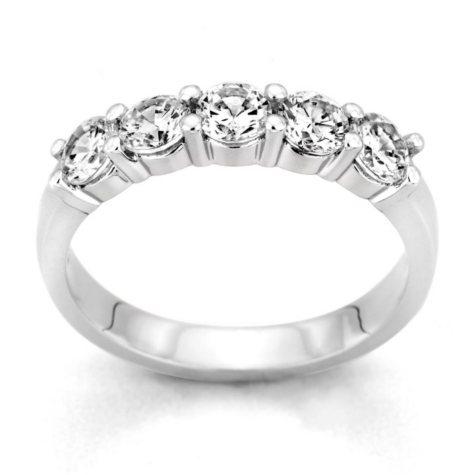 0.25 ct. t.w. 5-Stone Round Diamond Band in 14k White Gold (H-I, I1)