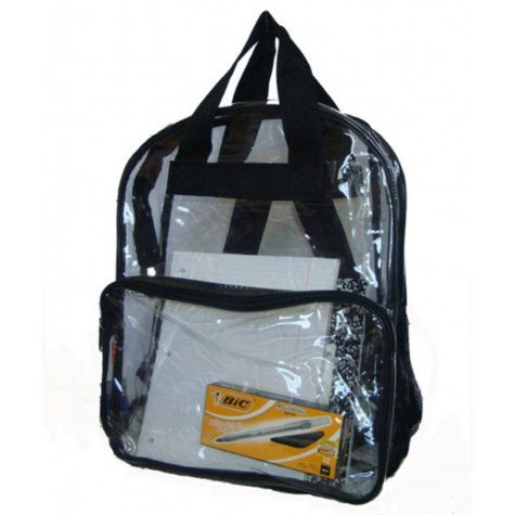 """HV 17"""" Backpacks - Clear with Black Trim - 40 Pack"""