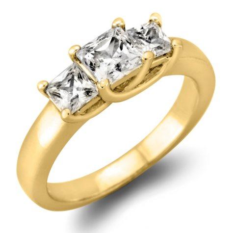 1.45 CT. TW. Princess-cut Diamond 3-Stone Ring in 14K White or Yellow Gold (I, I1)